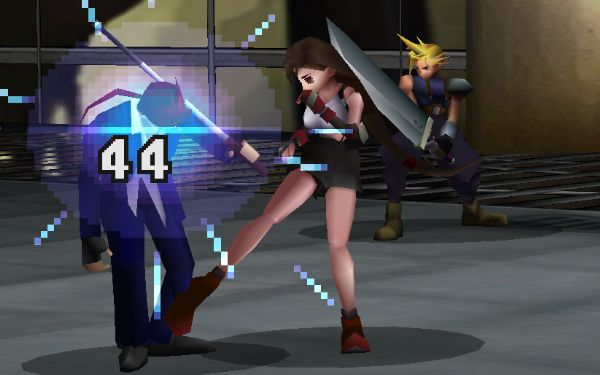Tifa kicks Reno in the shin