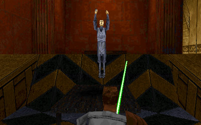 My first Dark Jedi enemy practising his diving skills