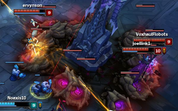 Our enemies defend their tower with sneakily placed Rek'Sai tunnels