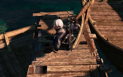 Geralt sinks into the jetty