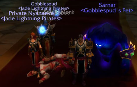 Sarnar looks on in disgust at those who dare to wear Pirates tabards
