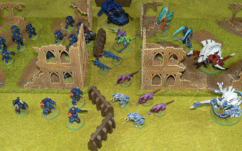 The Storm Tigers and Hive Fleet Odium fight it out in the new ruins